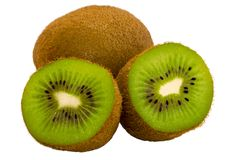 Cut fruit of kiwi on a white background. Isolate Summer fruits. For background or print stock image