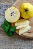 Cut fruit of a quince. Stock Image