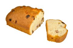 Cut fruitcake with raisin Royalty Free Stock Image