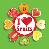 Cut of fruits and berries in Sign I love fruits Royalty Free Stock Photography