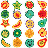 Cut fruits clip art set Royalty Free Stock Photos