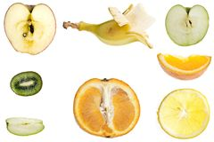 Cut fruits collage. Collage of different type of fruit slices Stock Photo