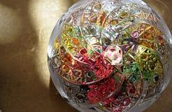 Cut-glass candy dish. Round cut-glass candy dish Stock Photo