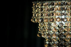 Cut Glass Chandelier. Hanging Glass Beads of Ornate Chandelier with Copy Space Stock Photo