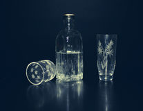Cut-glass ware and  bottle with vodka Royalty Free Stock Photo