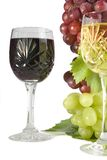 Cut glass wines. Red & white grapes and wine in lead crystal cut glass Stock Photo