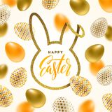 Cut from glitter gold paper silhouette of a rabbit`s head with Easter calligraphic greeting and decorated eggs. Easter greeting card. Cut from glitter gold paper Stock Photography