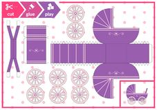 Cut and glue a baby carriage. Children art game for activity page. Paper 3d pram. Vector illustration. vector illustration
