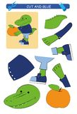 Cut and glue worksheet: crocodile.  Educational game for kids. Vector vector illustration