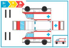 Cut and glue a paper car. Children art game for activity page. Paper 3d ambulance. Vector illustration. Cut and glue a paper car. Paper 3d ambulance. Children vector illustration
