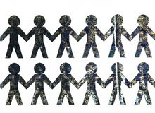 Cut from Golden paper people on white background stock photos