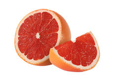 Cut grapefruit fruits  on white. Background Stock Photo