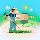 Cut the Grass. A man with a trimmer cuts grass on a white background. A man in overalls cuts grass with a trimmer. Worker cutting grass in garden with the weed stock illustration