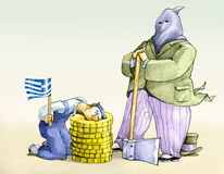 Cut greek. A banker dresses as Executioner to behead a worker with a Greek flag on a stump of coins Stock Photos