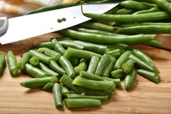 Cut green beans Stock Photos