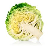 Cut green cabbage fruit isolated on white Royalty Free Stock Photo