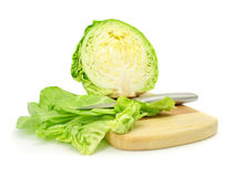 Cut of green cabbage vegetable isolated Royalty Free Stock Images