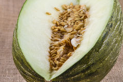 Cut green melon. With seeds on raffia Royalty Free Stock Photos