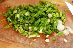 Cut green onion Stock Images