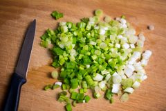 Cut green onion with a knife. Cut green onion with a kitchen knife on a wooden cutting board stock images