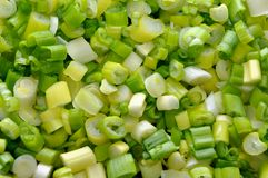 Cut green onions background Royalty Free Stock Photos