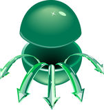 The cut green sphere. Stock Image