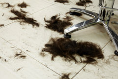 Cut hair on the floor Stock Images