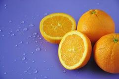 Cut Half of Fresh Navel Orange on Background stock images