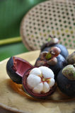 Cut half mangosteen Royalty Free Stock Image