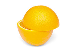 Cut in half an orange Royalty Free Stock Images