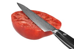 Cut Half Red Tomato And Kitchen Knife White Isolated Royalty Free Stock Image
