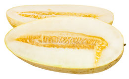cut in half Uzbek-Russian Melon isolated on white Stock Photo