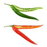 Cut in halves chili pepper isolated Stock Image