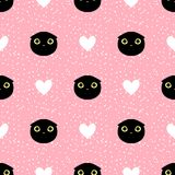 Cut head black cat with heart and dot seamless pattern. On pink background Royalty Free Illustration