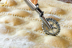 Cut Homemade Agnolotti Stock Photo