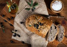 Cut  homemade olive bread, top view Royalty Free Stock Photo