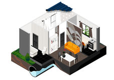 A cut of the house. Isometric view. Vector isometric cut of a house. Single store building. Simple interior, schematic illustrating of sewerage arrangement Royalty Free Stock Images