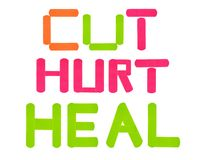 Cut-hurt-heal bandages. Bandages spelling cut, hurt heal on a white background Stock Images