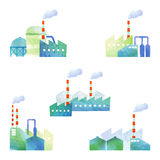Cut illustration of factories. Some images of factories by watercolor paint Royalty Free Stock Image