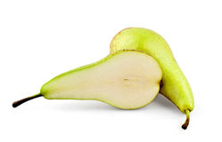Cut juicy pear. On white background stock image