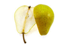 The cut juicy yellow pear Royalty Free Stock Photos