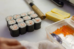 Cut Kani Sushi Rolls Ready for Serve Stock Photography