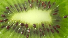 Cut kiwi fruit macro dolly shot stock footage