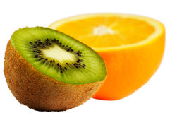 Cut kiwi and orange Royalty Free Stock Photo