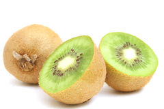 Cut kiwi on white Stock Photo