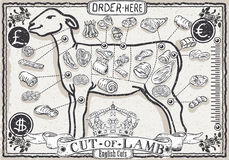 Cut of Lamb on Vintage Page Stock Photos