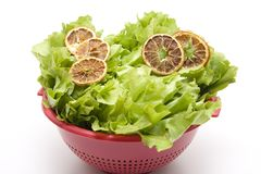 Cut lemon on endives salad Stock Photos