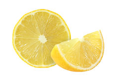 Cut lemon fruits isolated on white. Background Royalty Free Stock Image