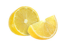 Cut lemon fruits isolated on white. Background Royalty Free Stock Photography