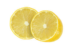 Cut lemon fruits  on white. Background Stock Image